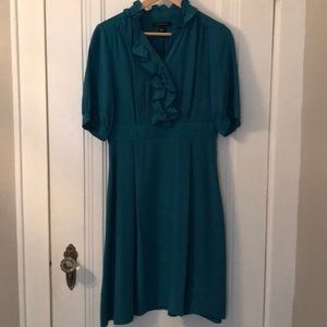 Banana Republic teal silk dress w/ ruffled collar